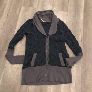 Free people wool sweater cardigan jacket knit Med